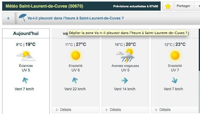 météo WE Pentecote 2014 St Laurent de Cuves festival Papillons de nuit P2N
