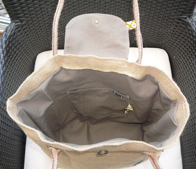 sac pliage en toile de jute - nfm - nath fait main