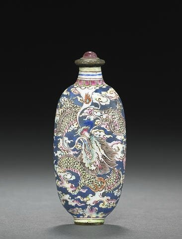 An enamel on copper 'dragon' snuff bottle. Probably Imperial, Palace Workshops, Guangzhou. 1720-1750