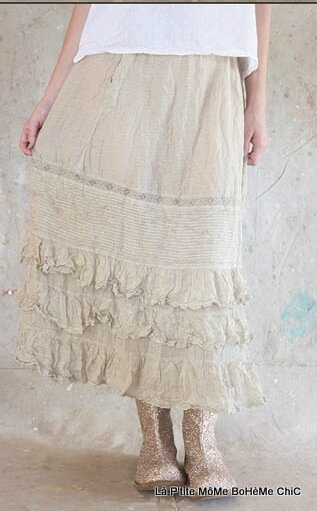 07-MP Cotton silk long penelope skirt with drawstring, elastic & snaps waist, lace, pintuck and ruffles , Papyrus