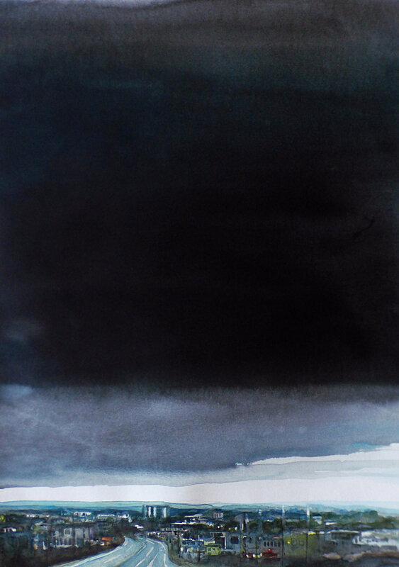 K'nowhere 95 , (Giratoire de Luscanen Vannes, 2017, aquarelle et encre, 45 x 64 cm