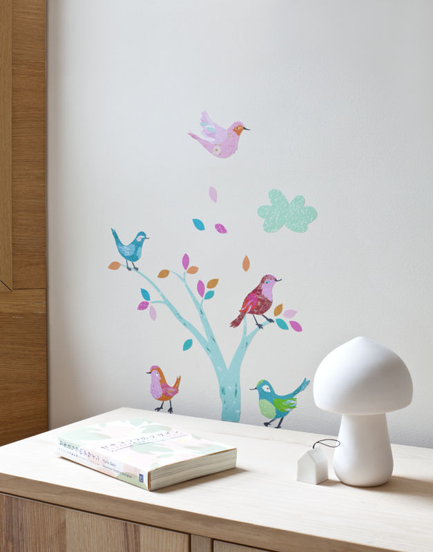 Sticker chambre fille les oiseaux abigail brown for Stickers chambre fille