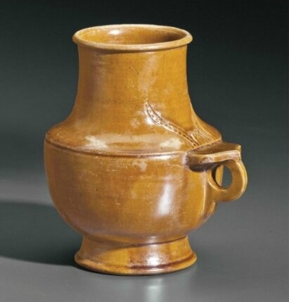 A rare amber-glazed tankard, China, Liao Dynasty (AD 907-1125)