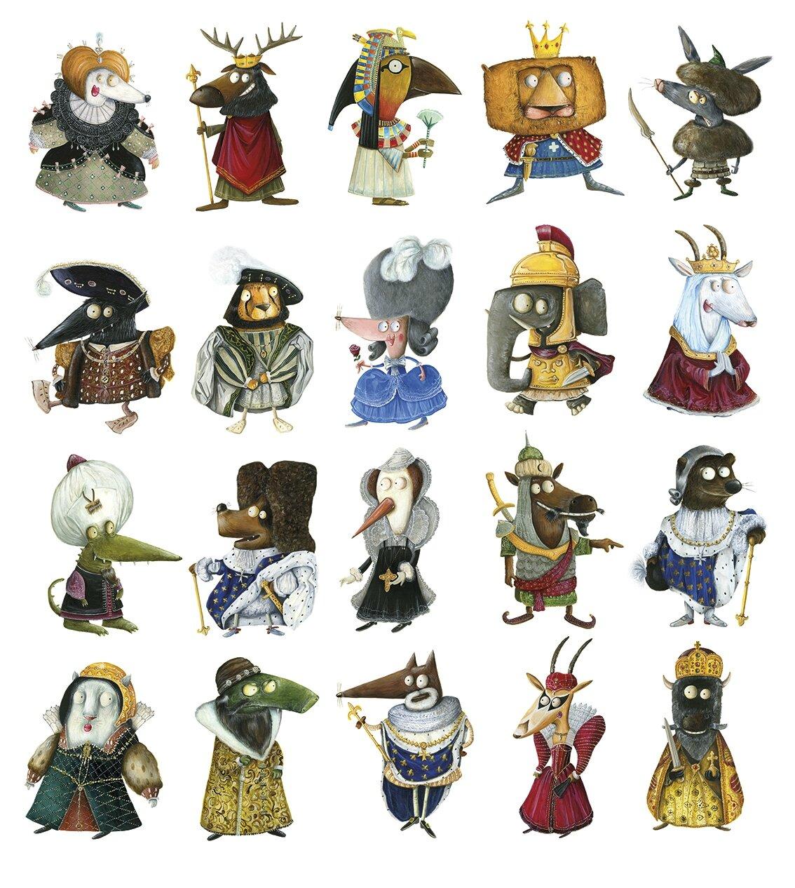"""Tous les rois et reines de """"Drôles de fables pour les Roinimaux"""""""