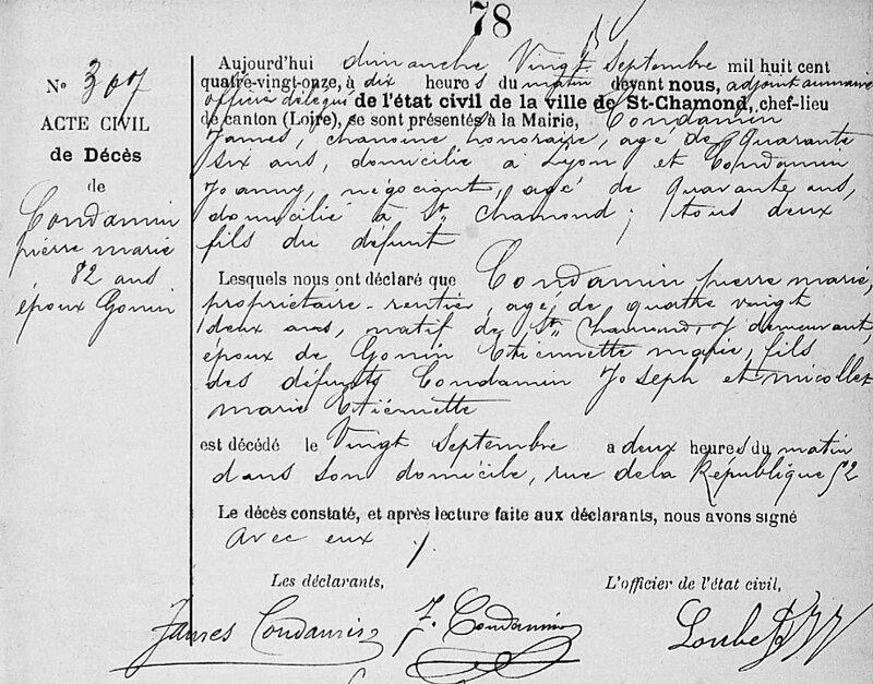 Pierre Marie Condamin décès 20 sept 1891