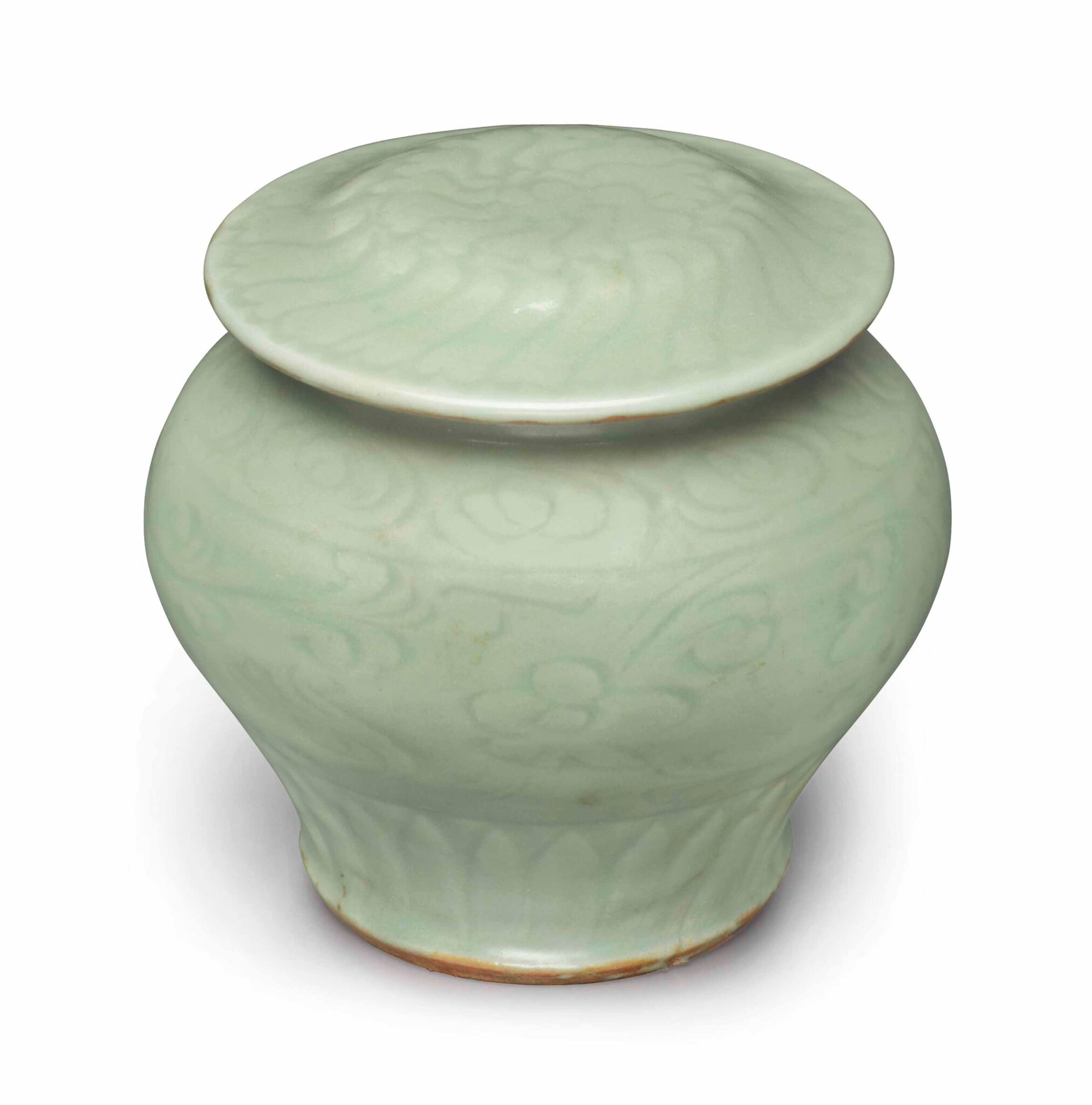 A small Longquan celadon baluster jar and cover, Ming dynasty (1368-1644)