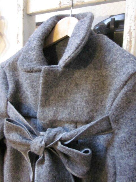 Manteau AGLAE en laine bouillie gris clair chiné (1)