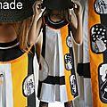 Tendance printemps/eté 2013 ... jouez du look sixties ! robe trapèze de style graphique bicolore noire & blanche orange unique !