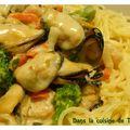 Capellini aux fruits de mer et petits légumes