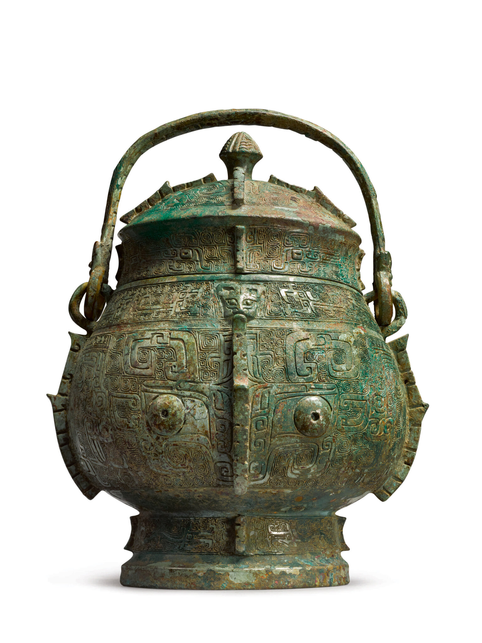 An Extremely Rare and Important Archaic Bronze Ritual Wine Vessel And Cover (You) Shang Dynasty, Yinxu Period