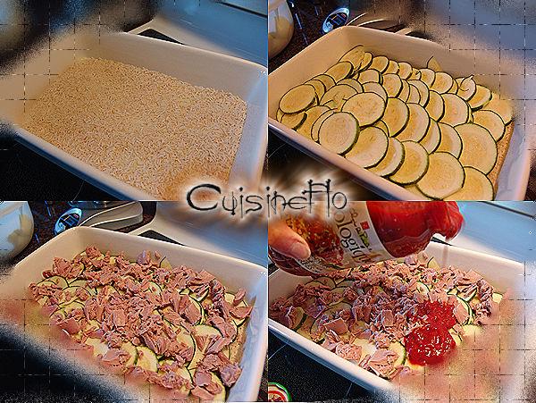 Gratin de courgettes crémeux au riz et au thon de Cuisineflo