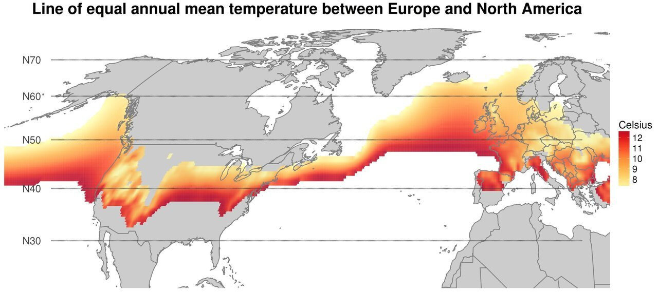 A band of equal average annual temperature between Europe and North America