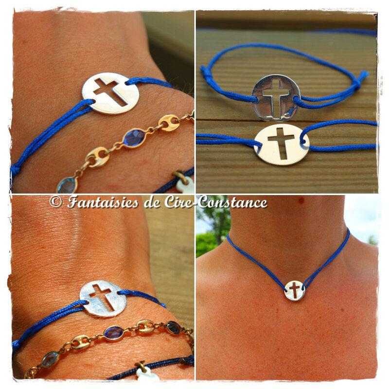 bracelet collier croix argent massif ajourée