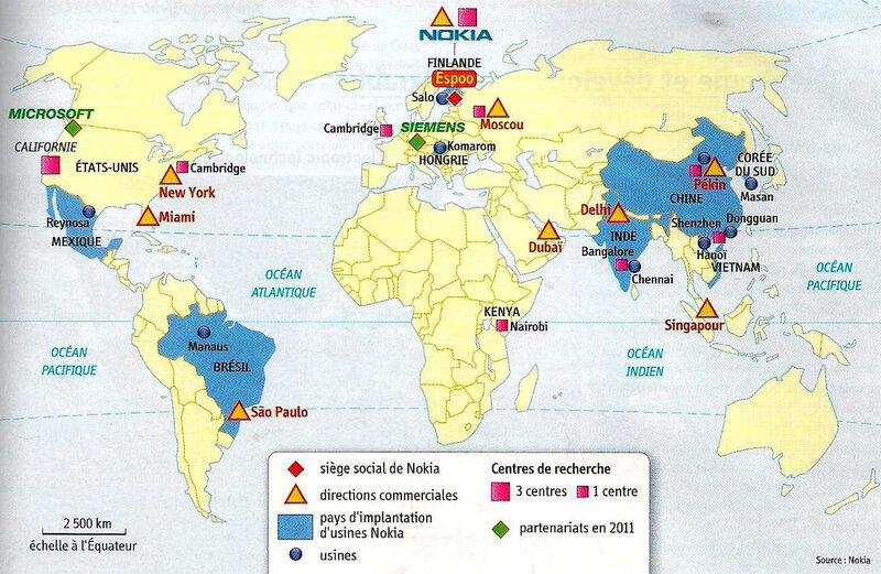 carte produit mondialisé - Nokia entreprise mondialisée