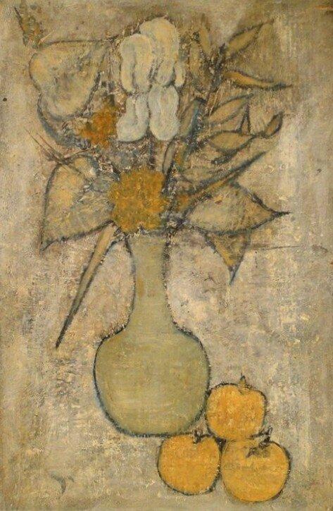 hst-tableau-cubiste-nature-morte-au-vase-de-fleurs-et-pommes-gouret-xxe