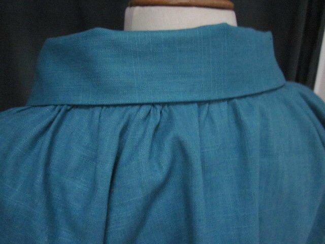 Veste BLANCHE en lin bleu lagon (10)