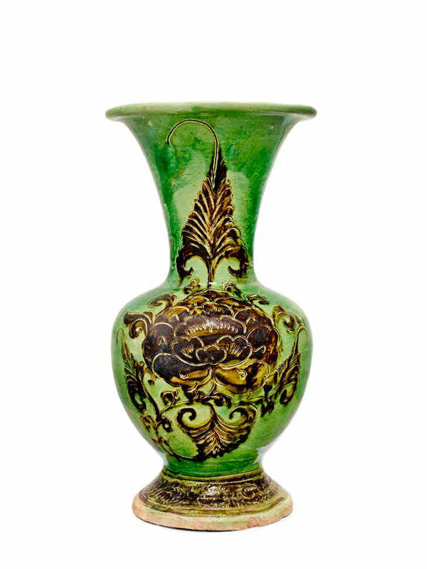 A rare Cizhou green-glazed and iron-black-brown-painted and incised 'peony' baluster vase, Northern Song-Jin Dynasty, 12th Century