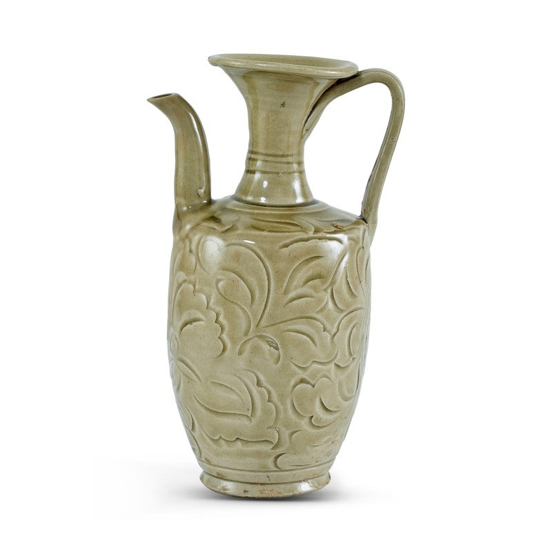 A Yaozhou celadon carved 'floral' ewer Northern Song dynasty
