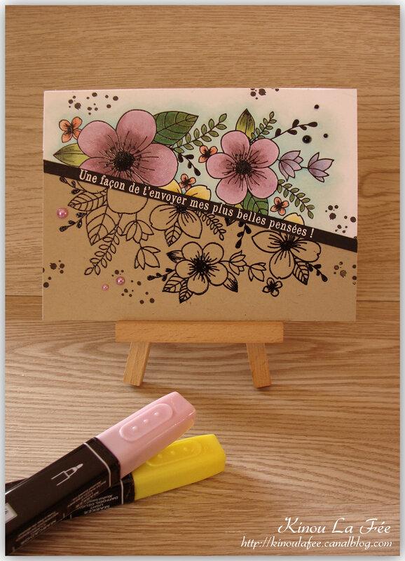 Carte bouquet kraft et couleur 3
