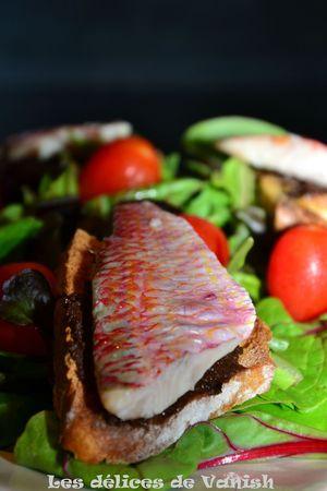 toast tapenade noire, rouget, salade fraîcheur, repas d'été