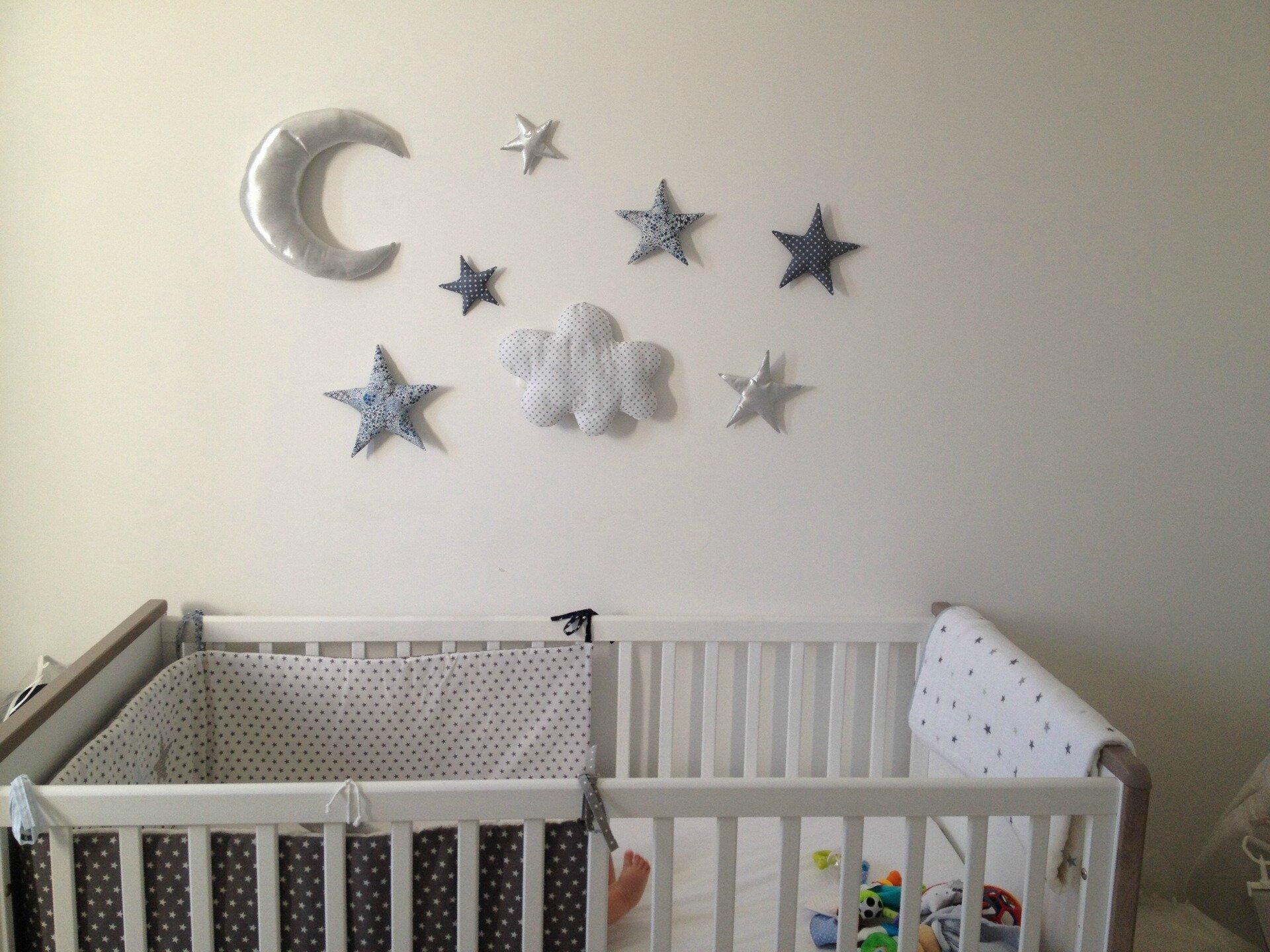 Décoration murale: lune, étoiles, nuage