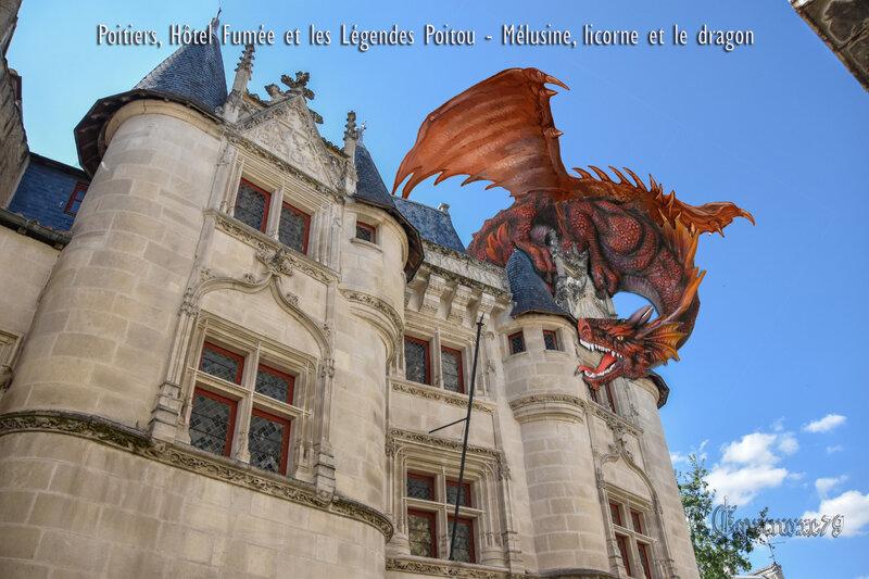 Poitiers, Hôtel Fumée et les Légendes Poitou - Mélusine, licorne et le dragon