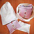 Cadeau naissance baby shower lingettes lavables biologiques chats rose + sac et panier de rangement