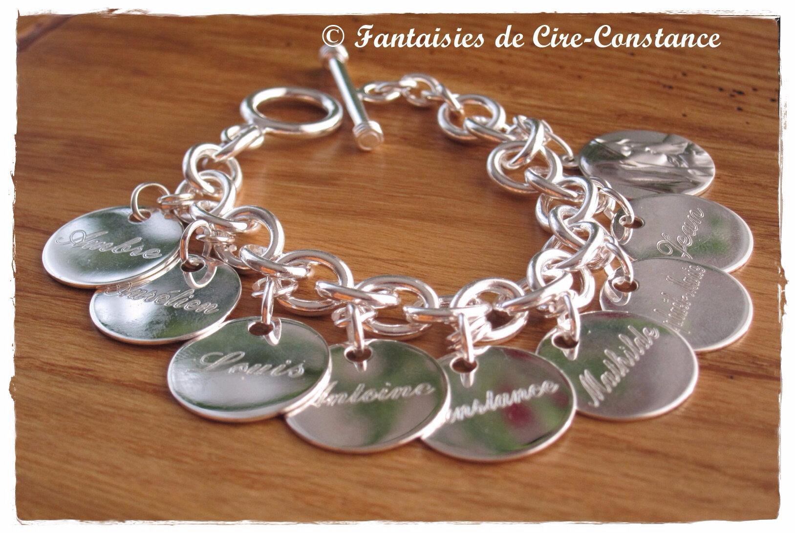 Argent massif bracelet mailles rondes fermoir toogle