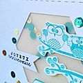 Shaker card d'anniversaire turquoise et or