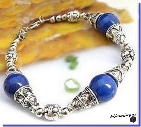 Bracelet Ethnique Capa 3 Perles Lapis Lazuli Argent du Tibet