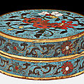 A cylindrical cloisonné enamel box and cover, china, 17th century