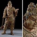 A large painted wood figure of a guardian king, song-yuan dynasty, 13th-14th century
