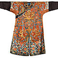 A chinese brown-ground embroidered 'dragon' robe, jifu, qing dynasty