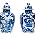 A pair of blue and white jars and covers, kangxi period (1662-1722)