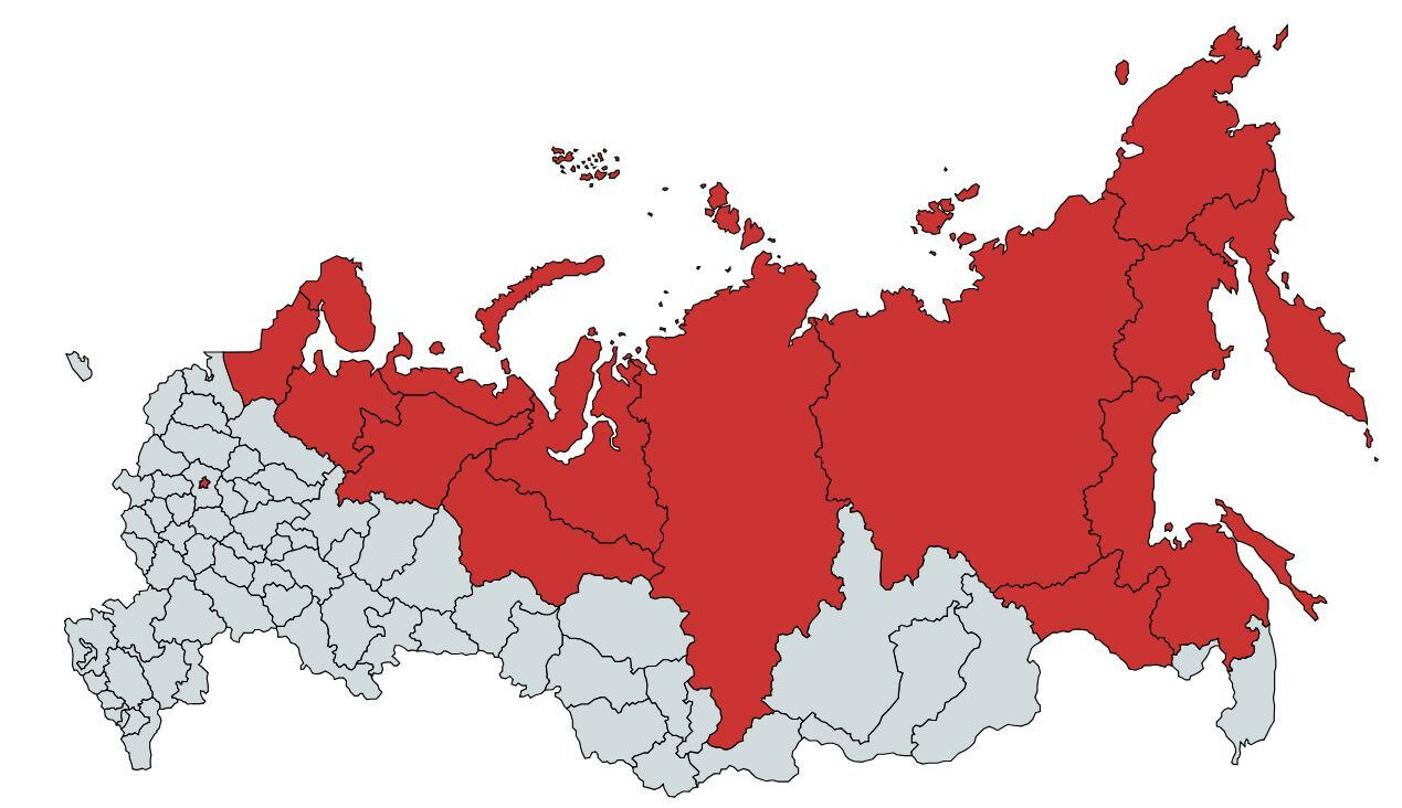 Part of Russia with population equal to Moscow