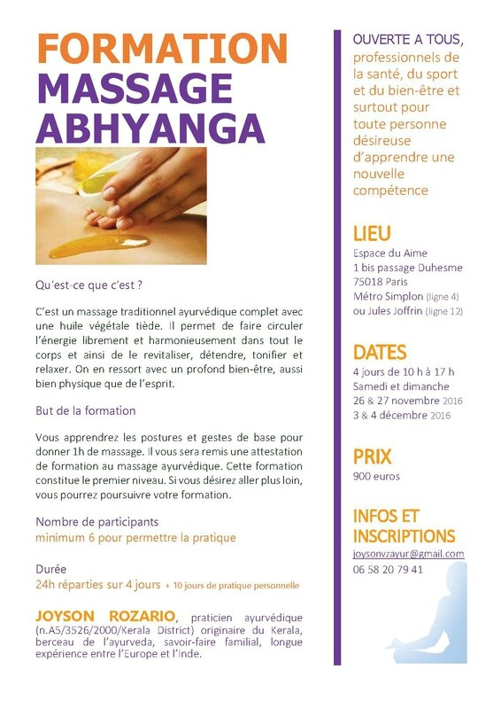 Formation massage abhyanga 2016