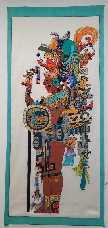 """""""le maya"""" Peinture sur twill de soie 200x90"""