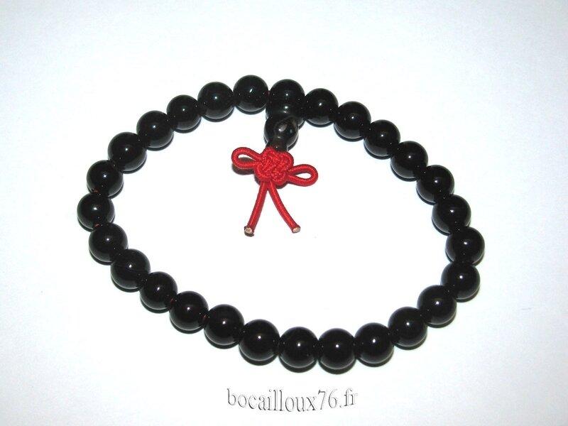 Bracelet OBSIDIENNE Noire 3 Perles (2)