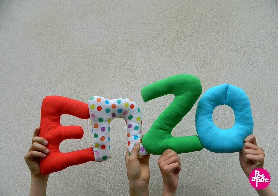 enzo,mot en tissu,mot decoratif,cadeau de naissance,decoration chambre d'enfant,cadeau personnalise,cadeau original,poc a poc blog
