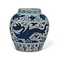 A large blue and white 'dragon' jar, jiajing period (1522-1566)