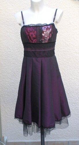 Robe Bretelles Prune Et Noir Les Filles A La Vanille Taille 40