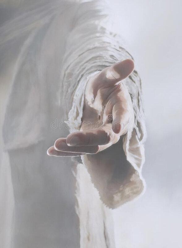 peinture-de-main-jésus-christ-la-des-christs-remettent-tout-montrer-du-doigt-pour-venir-à-lui