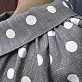 Veste BLANCHE en lin gris à pois blancs fermée par un bouton de nacre naturelle (7)