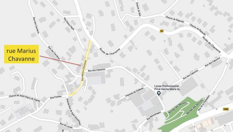 rue Marius Chavanne, plan Google maps légendé