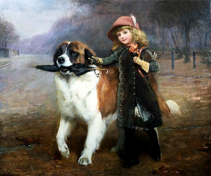 Charles Buton Barber child with dog