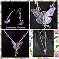 Parure collier boucles d'oreilles papillon mauve parme