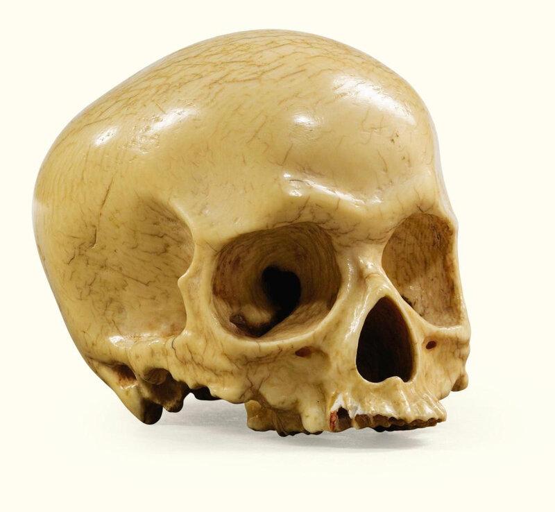 Crâne en ivoire d'éléphant sculpté, Allemagne, vers 1628