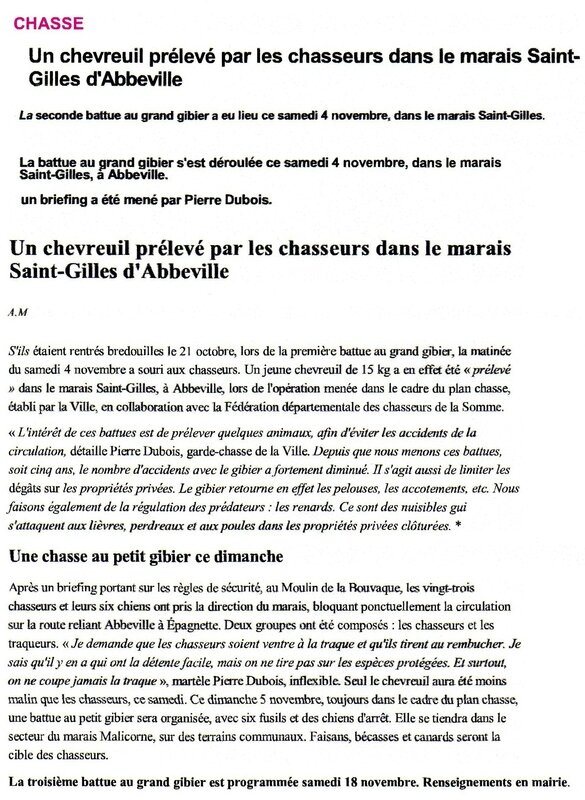 article courrier Picard somme Chasse St Gilles