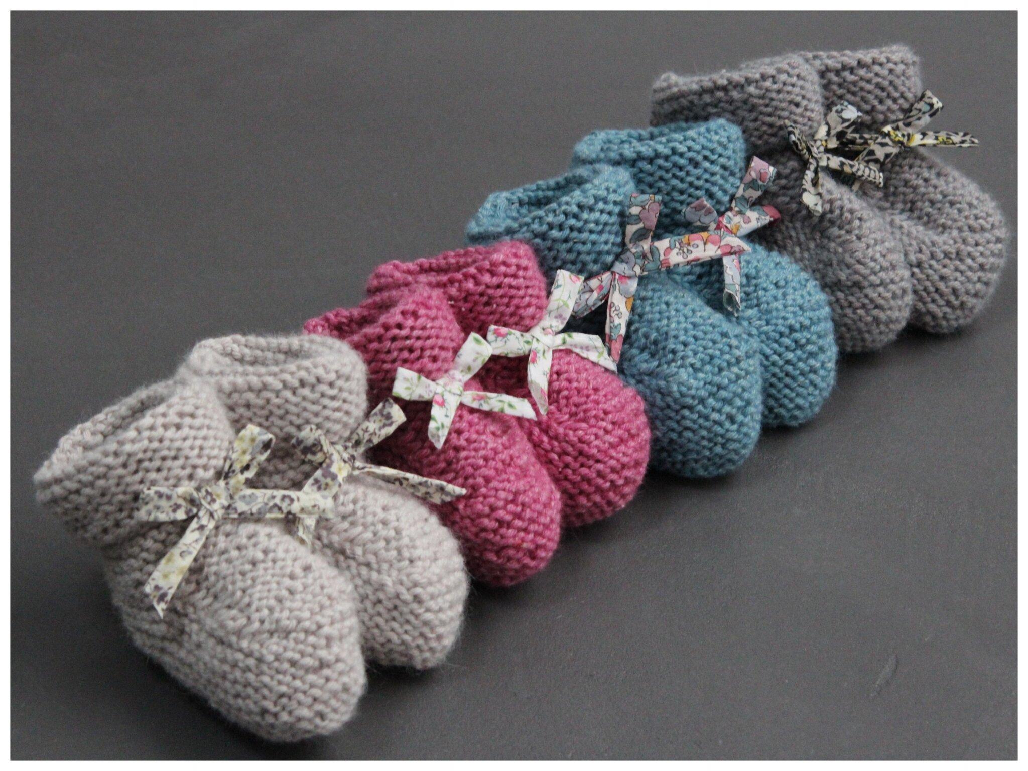 c3d931a150cdb Chausson bebe en laine a tricoter - Chaussure