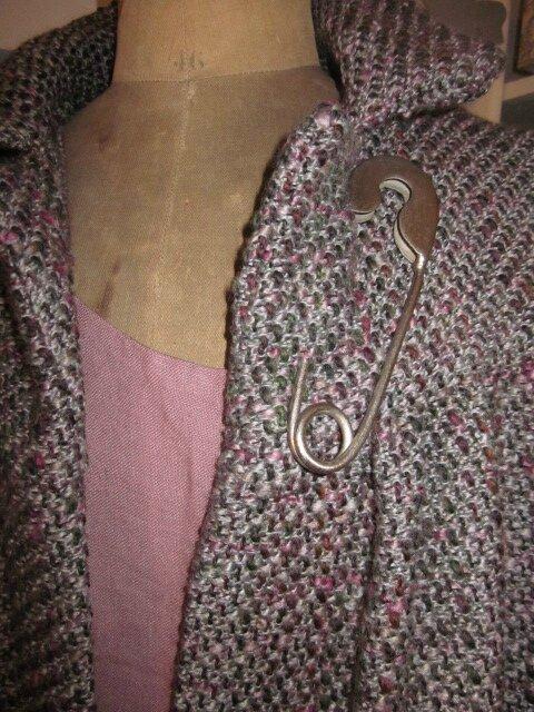 Maanteau AGLAE en lainage chiné gris et rose (5)
